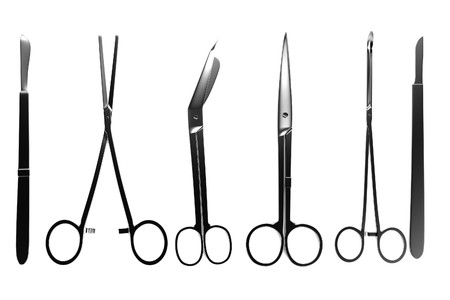 autopsy: realistic 3d render of surgery tools