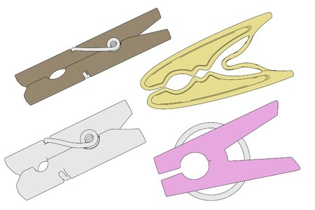 clothes pegs: cartoon image of clothes pegs Stock Photo
