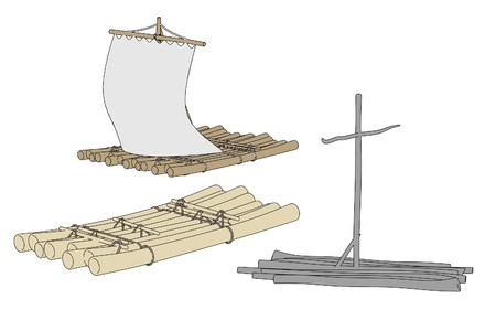 cartoon image of water rafts