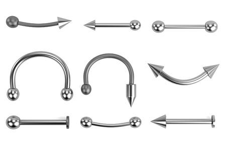 earing: realistic 3d render of piercings