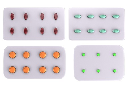 realistic 3d render of pill plates photo