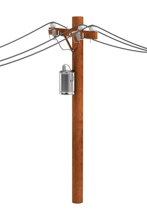 powerline: realistic 3d render of power line Stock Photo