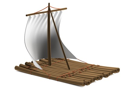 realistic 3d render of raft