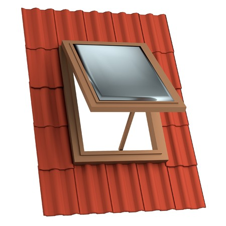 realistic 3d render of roof window Stock Photo