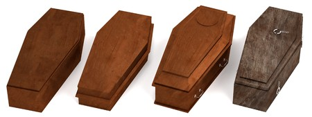 coffins: realistic 3d render of coffins
