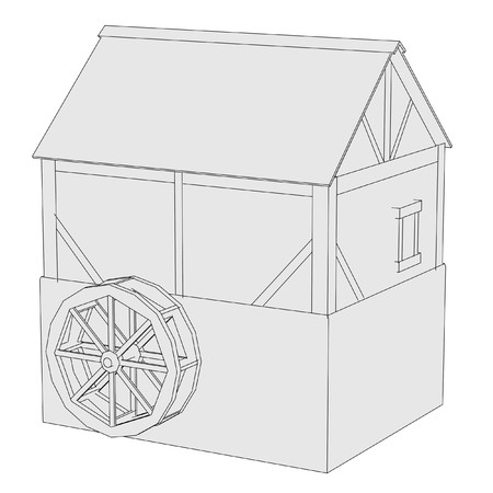 water mill: cartoon image of water mill