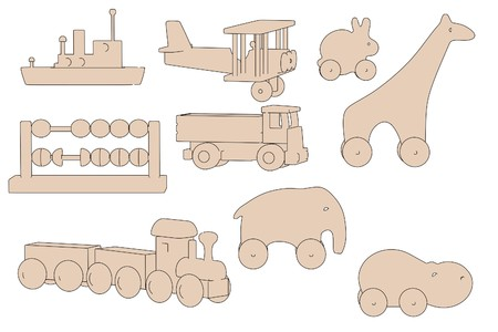 cartoon image of wooden toys photo