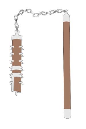 mace: cartoon image of mace weapon Stock Photo