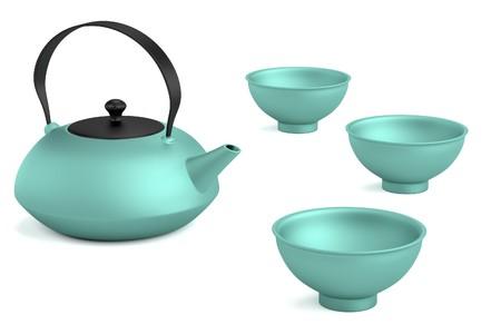 teaspoon: realistic 3d render of tea set