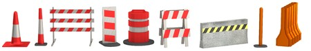 constrution site: realistic 3d render of traffic barriers