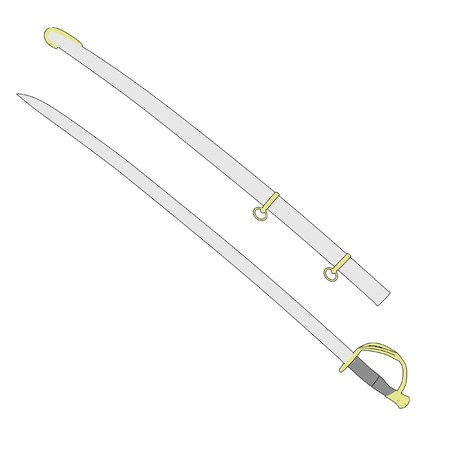 sabre: cartoon image of sword weapon - sabre Stock Photo