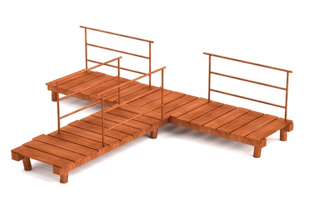 landing stage: realistic 3d render of landing stage Stock Photo