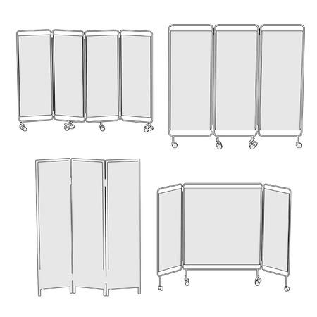 folding screens: cartoon image of folding screens