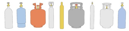 oxygene: cartoon image of gas cans