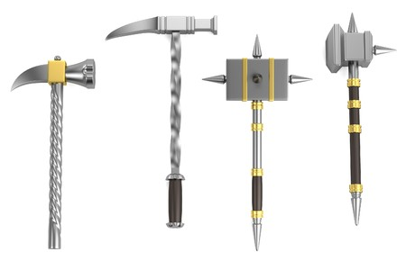 warhammer: realistic 3d render of hammers