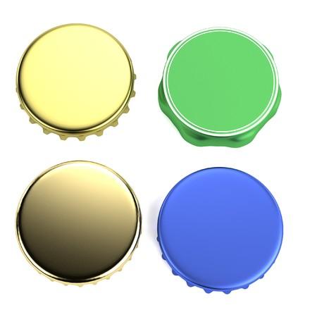 lids: realistic 3d render of bottle lids