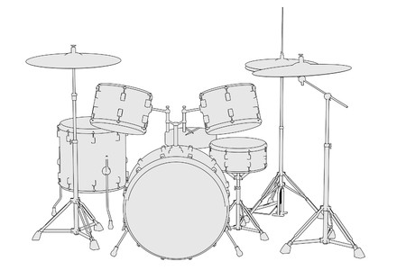 drumset: cartoon image of musical instruments - drum set Stock Photo