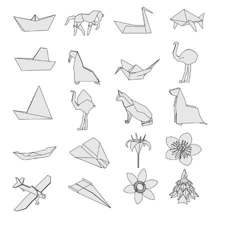 cartoon image of origami set photo