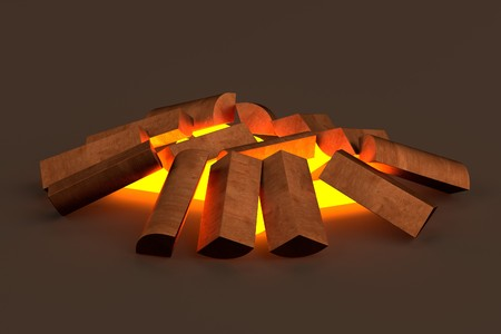 woodfire: realistic 3d render of fireplace