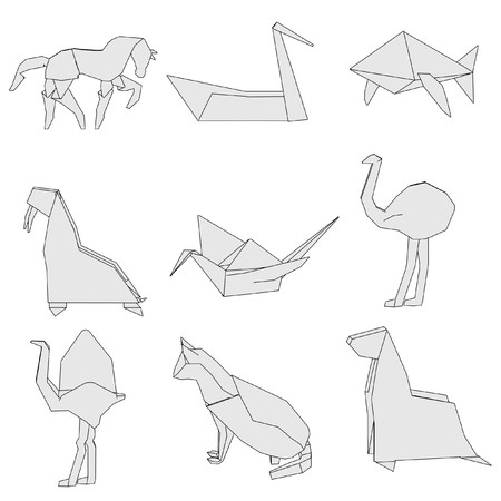 cartoon image of origami animals photo