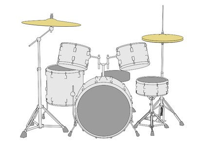 cartoon image of musical instruments - drum set Stock Photo