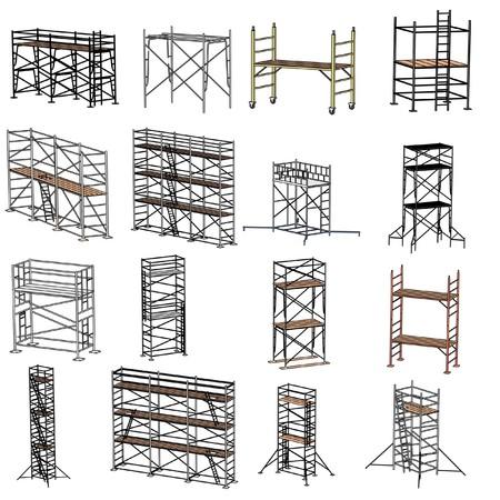 cartoon illustration of construction scaffolding  写真素材