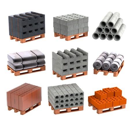 realistic 3d render of construction materials
