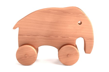 realistic 3d render of wooden toy photo