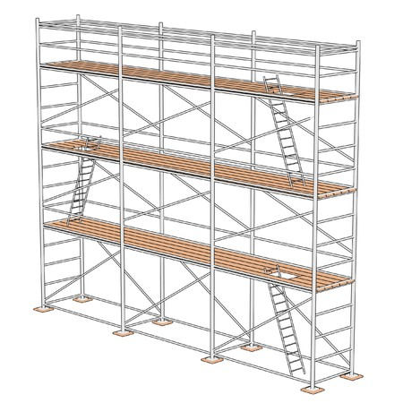 cartoon illustration of construction scaffolding  Banco de Imagens