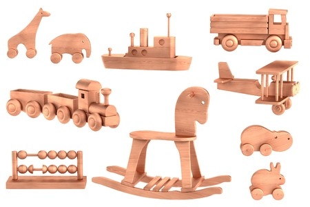 realistic 3d render of wooden toys photo