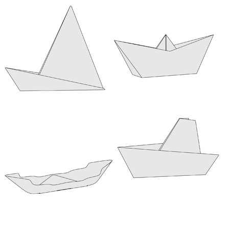 cartoon image of origami ships photo