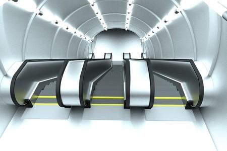 realistic 3d render of escalator scene Imagens