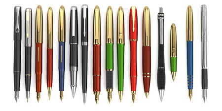 realistic 3d render of luxury pens photo