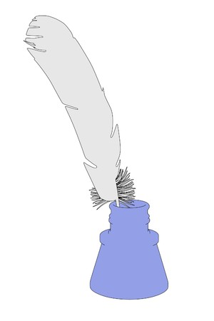 inkpot: cartoon illustration of quill with inkpot Stock Photo