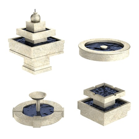 water fountain: realistic 3d render of fountains