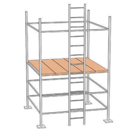 cartoon illustration of construction scaffolding  Banco de Imagens