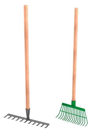 rakes: realistic 3d render of rakes