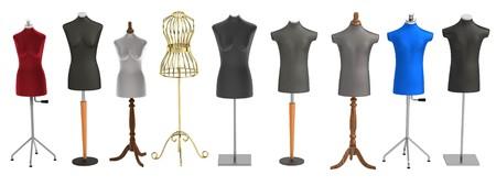 realistic 3d render of shop dummies photo