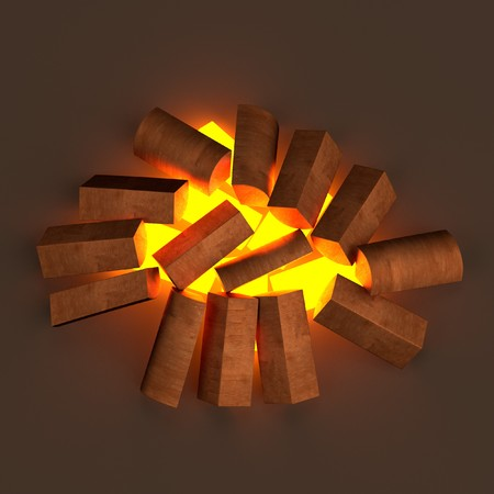 realistic 3d render of fireplace photo