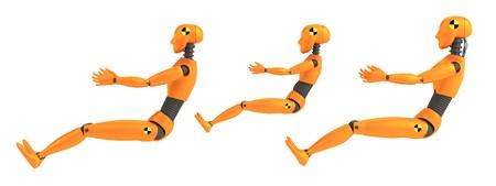 realistic 3d render of crash dummies photo