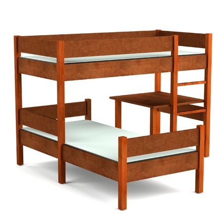 bunk bed: realistic 3d render of bed Stock Photo
