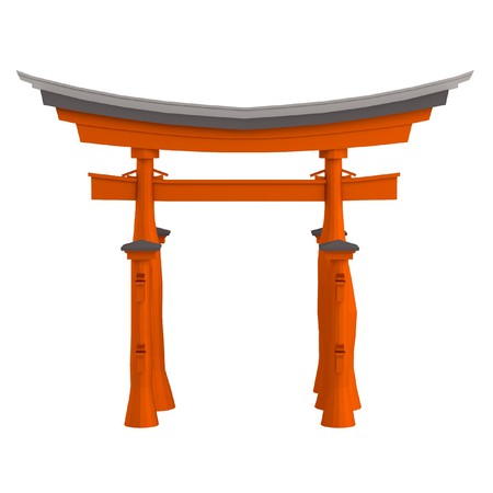 torii: realistic 3d render of torii gate Stock Photo