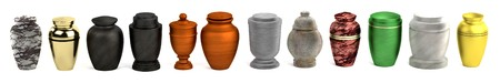 cremation: realistic 3d render of urns Stock Photo