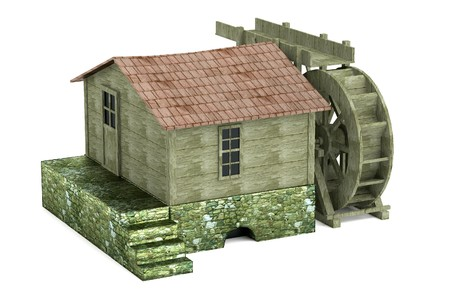 watermill: realistic 3d render of water mill