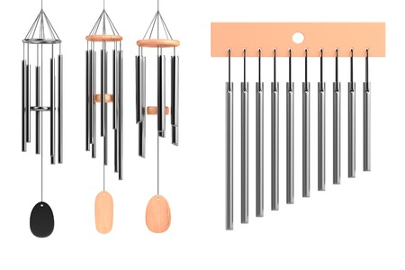wind chimes: realistic 3d render of wind chimes set