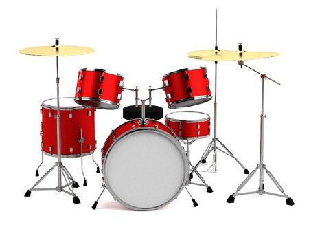 realistic 3d render of drumset