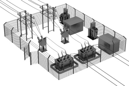 substation: realistic 3d render of substation