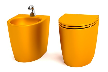 bidet: realistic 3d render of toilet with bidet