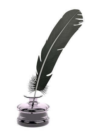 inkpot: realistic 3d render of writing quill with inkpot