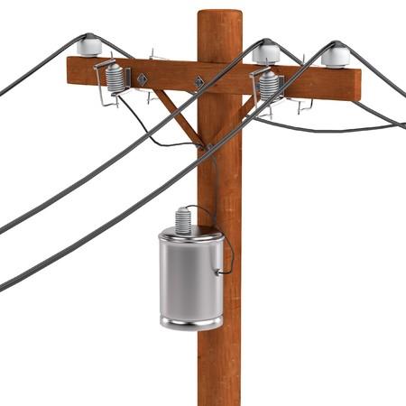 powerline: realistic 3d render of power line Stock Photo